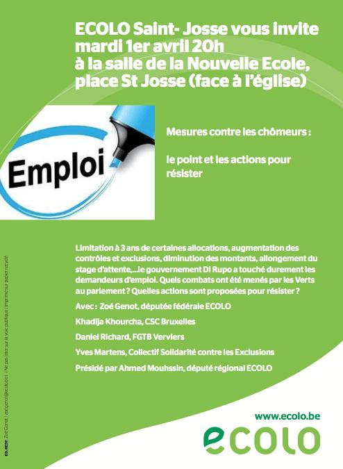 Débat sur les mesures contre les chômeurs le 1er avril à 20h à Saint Josse